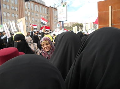 Yemen: Young woman in a demonstration held to honor the 2011 Revolution, Sana'a
